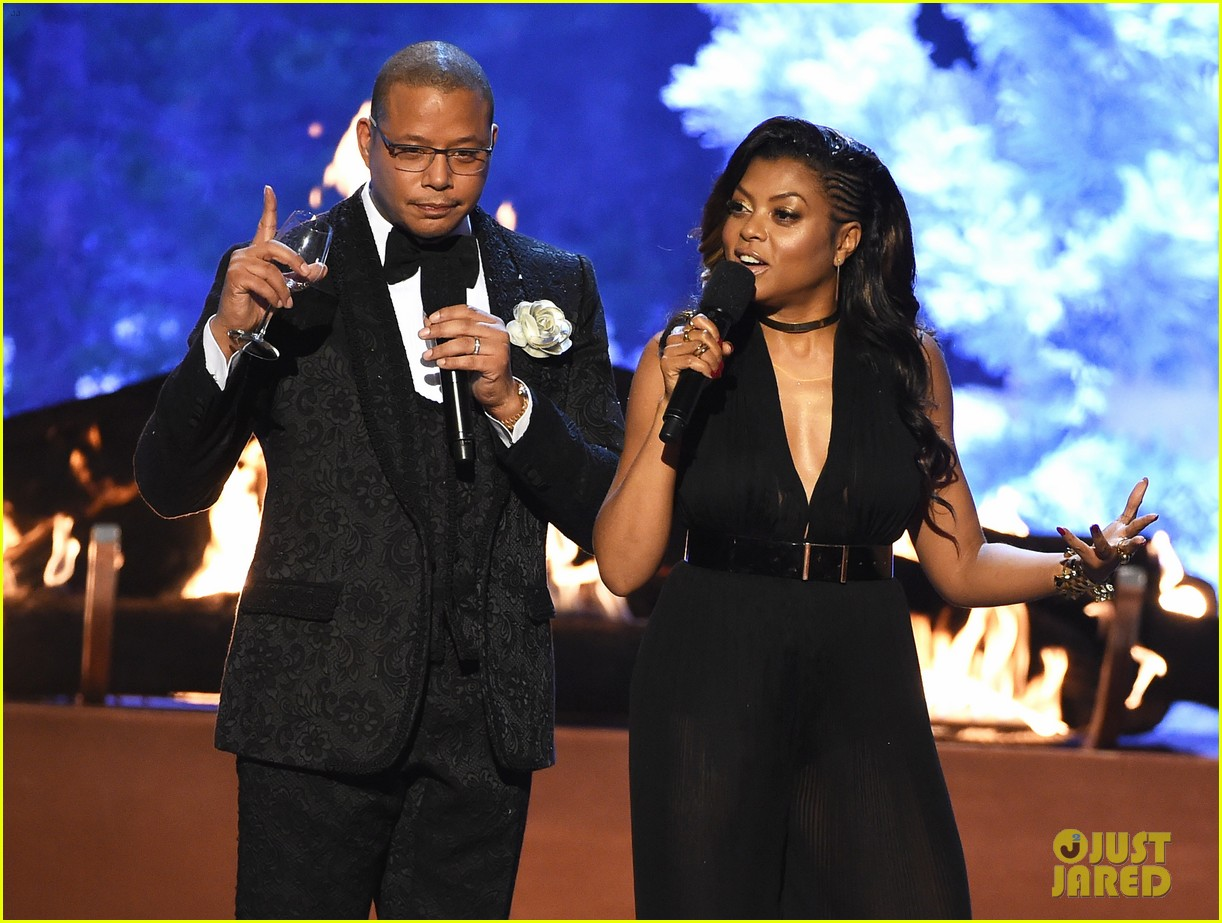 CULVER CITY, CA - JUNE 06: Co-hosts Terrence Howard (L) and Taraji P. Henson speak onstage during Spike TV's Guys Choice 2015 at Sony Pictures Studios on June 6, 2015 in Culver City, California. (Photo by Kevin Winter/Getty Images for Spike TV)