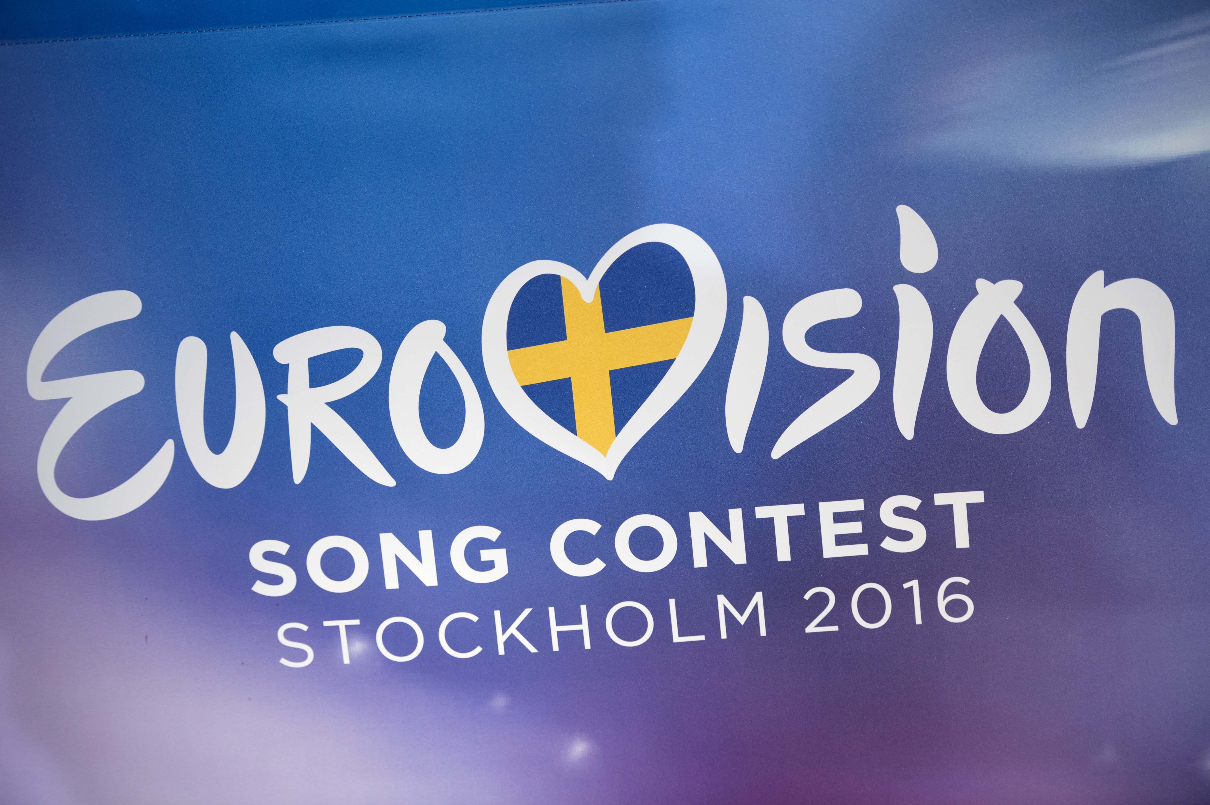 The logo of the Eurovison Song Contest 2106 is seen during the draw for the semi-finals of Eurovision Song Contest at Stockholm City Hall, Sweden, January 25, 2016. REUTERS/Henrik Montgomer/TT News Agency ATTENTION EDITORS - THIS IMAGE WAS PROVIDED BY A THIRD PARTY. FOR EDITORIAL USE ONLY. NOT FOR SALE FOR MARKETING OR ADVERTISING CAMPAIGNS. THIS PICTURE IS DISTRIBUTED EXACTLY AS RECEIVED BY REUTERS, AS A SERVICE TO CLIENTS. SWEDEN OUT. NO COMMERCIAL OR EDITORIAL SALES IN SWEDEN. NO COMMERCIAL SALES. - RTX23X7H