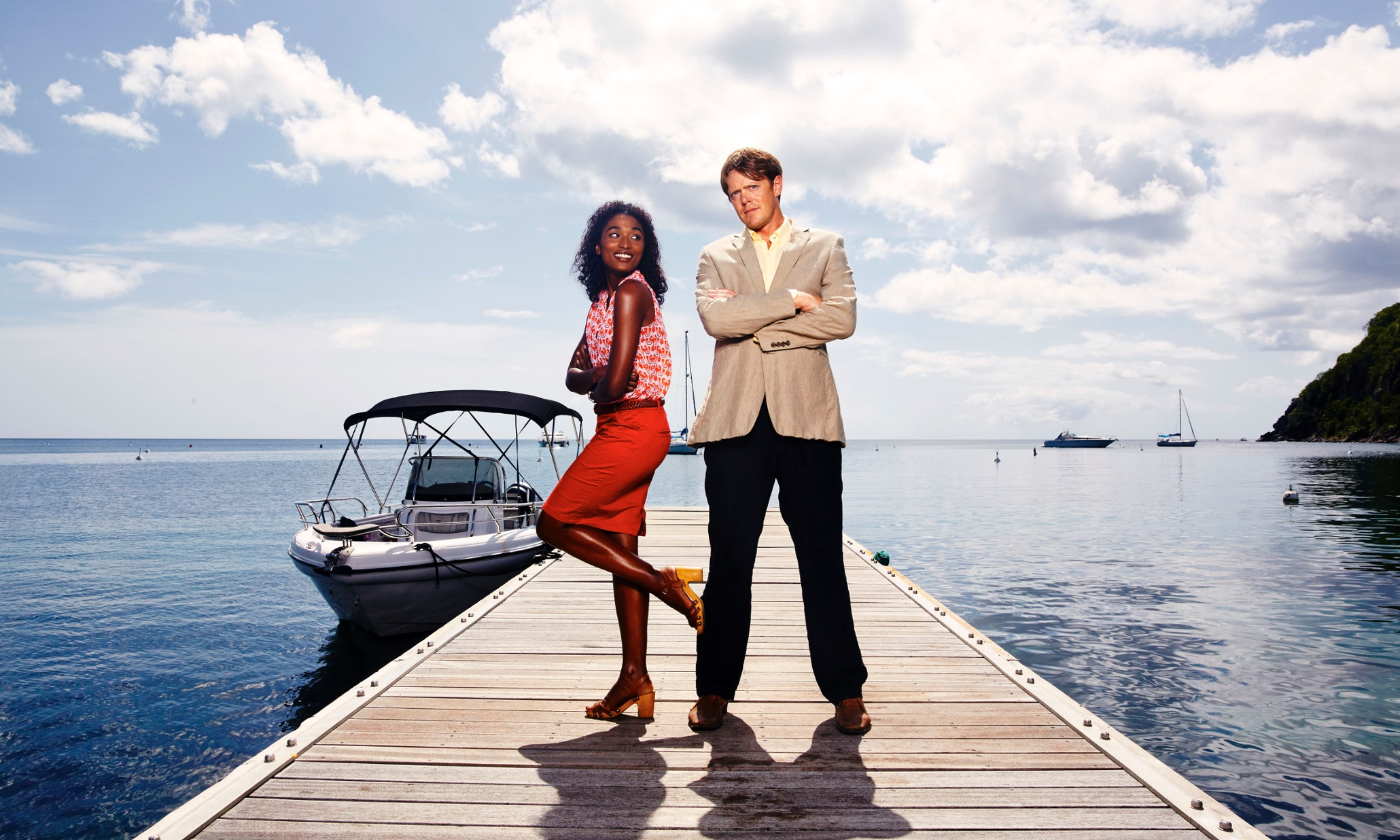 Programme Name: Death in Paradise - TX: n/a - Episode: n/a (No. n/a) - Picture Shows: (L-R) Camille (SARA MARTINS), Humphrey (KRIS MARSHALL) - (C) Red Planet Pictures - Photographer: Mark Harrison