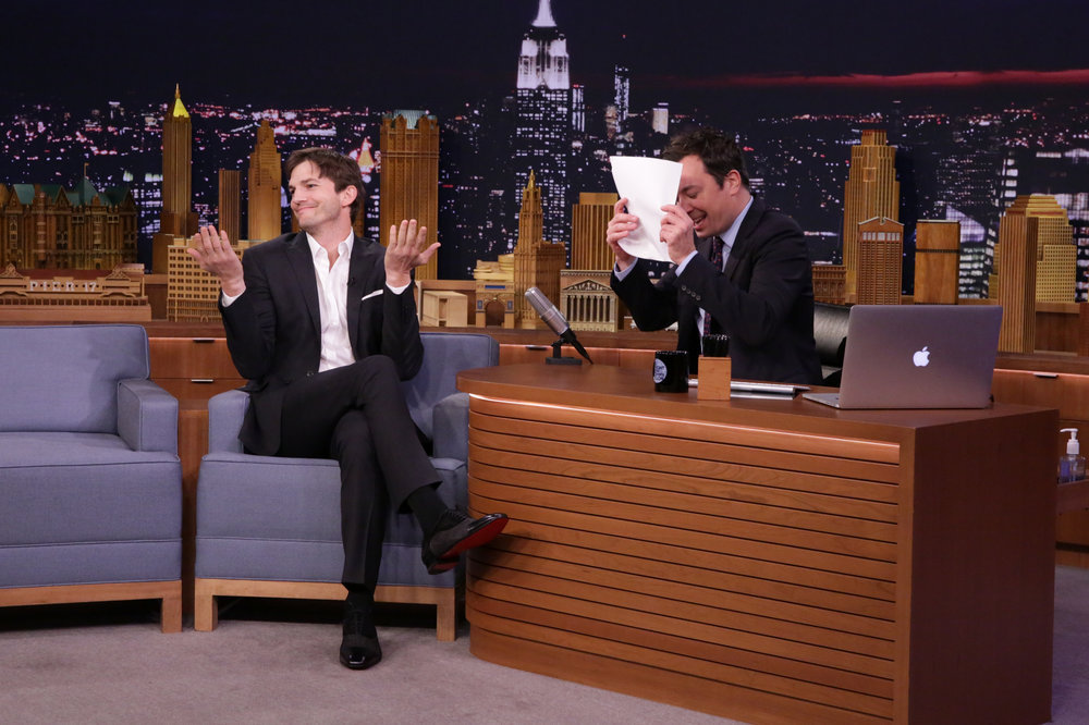 THE TONIGHT SHOW STARRING JIMMY FALLON -- Episode 0548 -- Pictured: (l-r) Actor Ashton Kutcher during an interview with host Jimmy Fallon on October 5, 2016 -- (Photo by: Andrew Lipovsky/NBC)