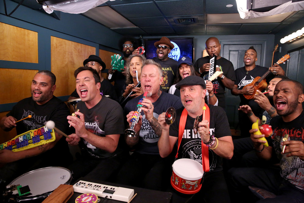 "THE TONIGHT SHOW STARRING JIMMY FALLON -- Episode 0572 -- Pictured: (l-r) James ""Kamal"" Gray, host Jimmy Fallon, Frank ""Knuckles"" Walker, Ahmir ""Questlove"" Thompson, Kirk Hammett, James Hetfield, Tariq ""Black Thought"" Trotter, Robert Trujillo, Lars Ulrich, James Poyser, Kirk ""Captain Kirk"" Douglas, Mark Kelley, and Damon ""Tuba Gooding Jr."" Bryson sing during the ""Metallica Music Room"" sketch on November 16, 2016 -- (Photo by: Andrew Lipovsky/NBC)"