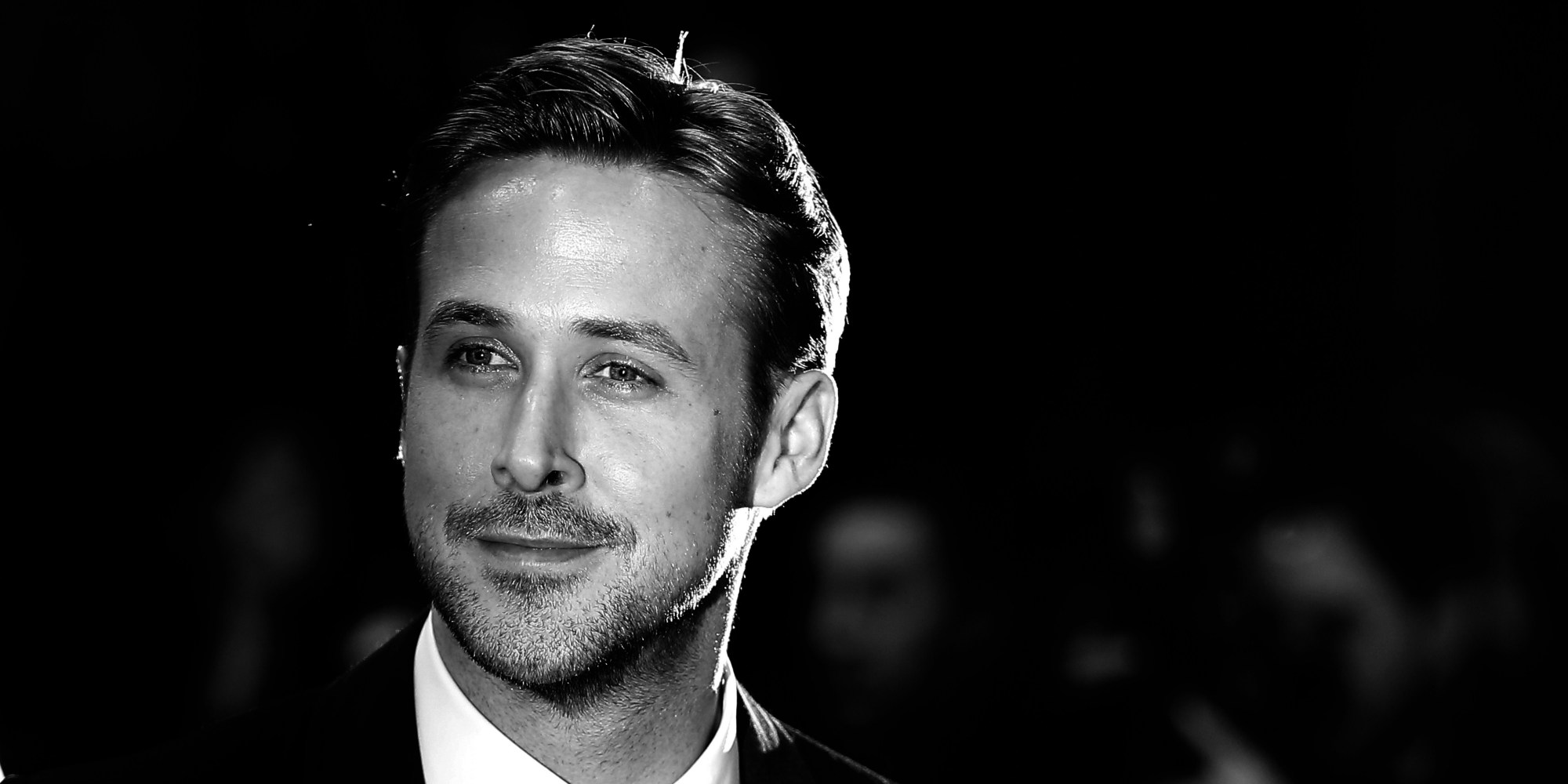 "BLACK AND WHITE VERSION Canadian actor Ryan Gosling poses as he arrives for the screening of the film ""Lost River"" at the 67th edition of the Cannes Film Festival in Cannes, southern France, on May 20, 2014. AFP PHOTO / VALERY HACHE (Photo credit should read VALERY HACHE/AFP/Getty Images)"