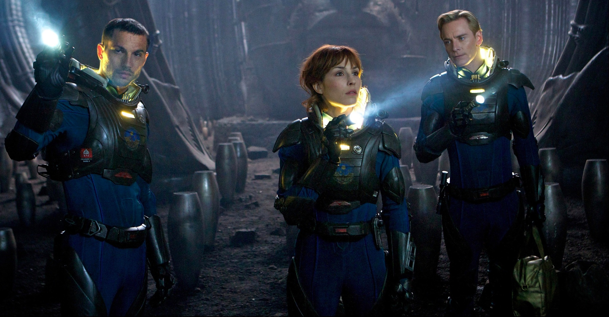 PROM-002 - Logan Marshall-Green, left, Noomi Rapace, and Michael Fassbender explore a planet in the darkest corners of the universe.