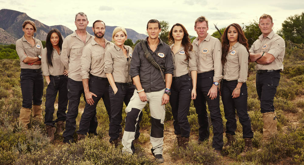 This image is strictly embargoed until 00.01 Tuesday 23rd February 2016 From betty Bear Grylls: Mission Survive: SR2 on ITV. Pictured: Meg Hines, Chelsee Healey, Neil Morrisey, Jason Gardiner, Michelle Collins, Bear Grylls, Samantha Barks, Stuart Pearce, Alex Scott and Scott Heffield. This photograph is (C) betty and can only be reproduced for editorial purposes directly in connection with the programme or event mentioned above or ITV plc. Once made available by ITV plc Picture Desk, this photograph can be reproduced once only up until the transmission [TX] date and no reproduction fee will be charged. Any subsequent usage may incur a fee. This photograph must not be manipulated [excluding basic cropping] in a manner which alters the visual appearance of the person photographed deemed detrimental or inappropriate by ITV plc Picture Desk.  This photograph must not be syndicated to any other company, publication or website, or permanently archived, without the express written permission of ITV Plc Picture Desk. Full Terms and conditions are available on the website www.itvpictures.com For further information please contact: james.hilder@itv.com / 0207 157 3052