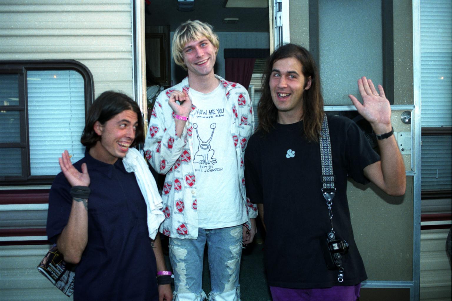 Dave Grohl,Kurt Cobain and Kirst Novoselic of Nirvana (Photo by Jeff Kravitz/FilmMagic)